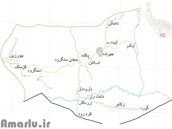 نقشه ی دهستان جیرنده،بخش عمارلو-بیورزین،کرماک،سنگرود،پارودبار،گورد،زکابر،دشت رز،میانکوشک،آیینه ده،داماش،یکنم،معدن سنگرود جزء این دهستان هستند.